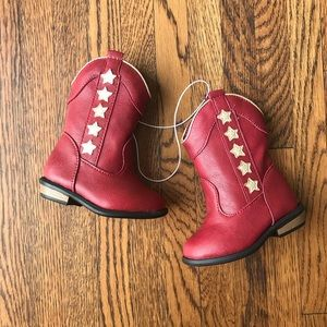 Cat & Jack Anika Western Boots Red with Gold Stars